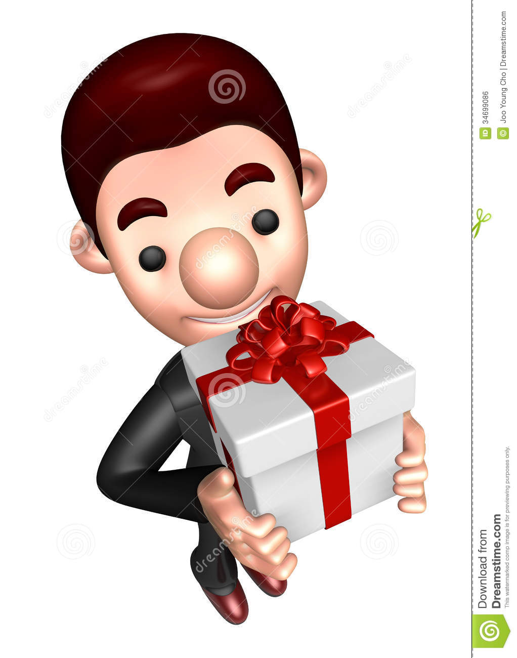 3d business man mascot holding a big gift box royalty free for Character designer job