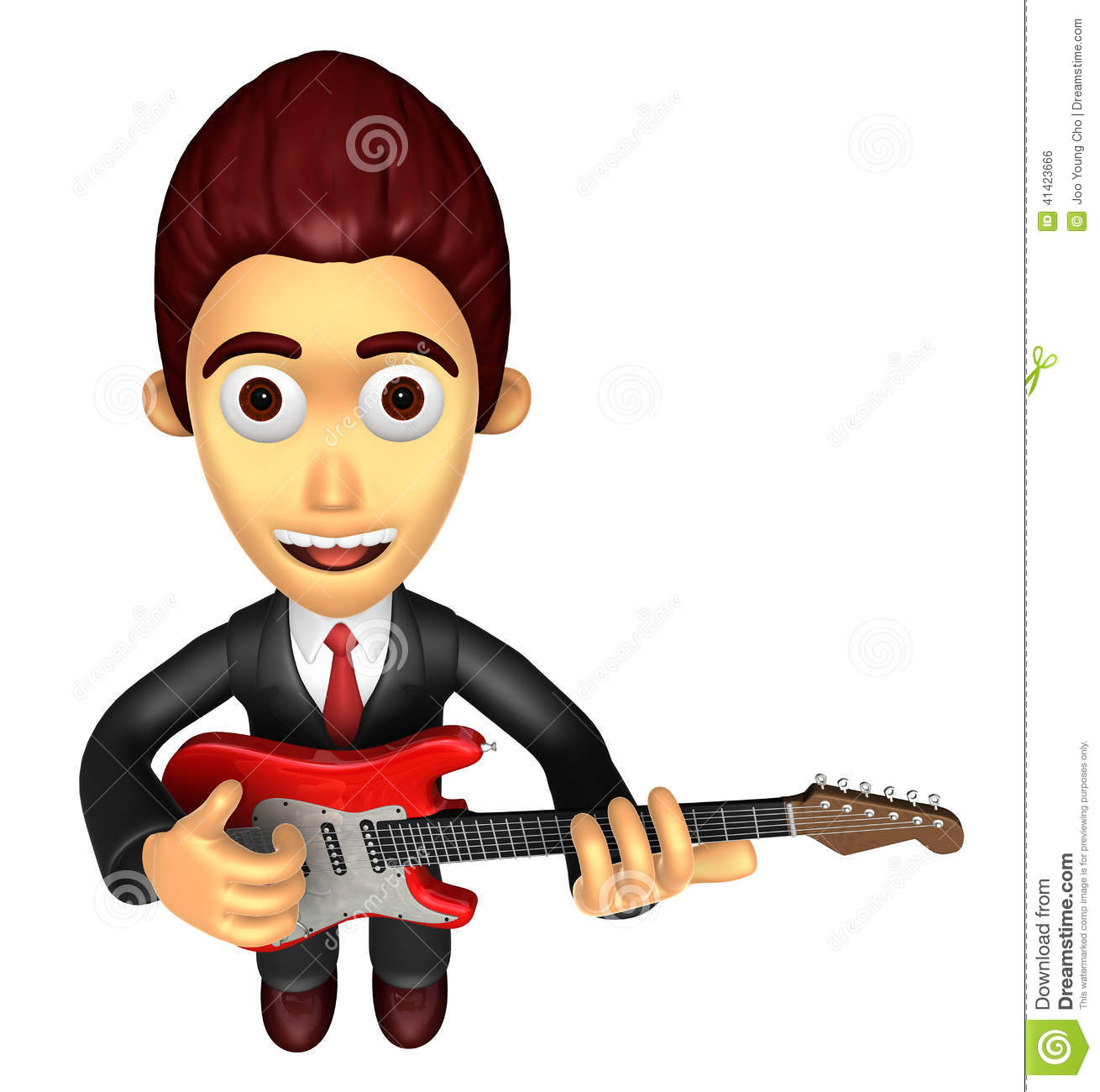 3d Man With Electric Guitar Stock Illustration - Image: 87485685