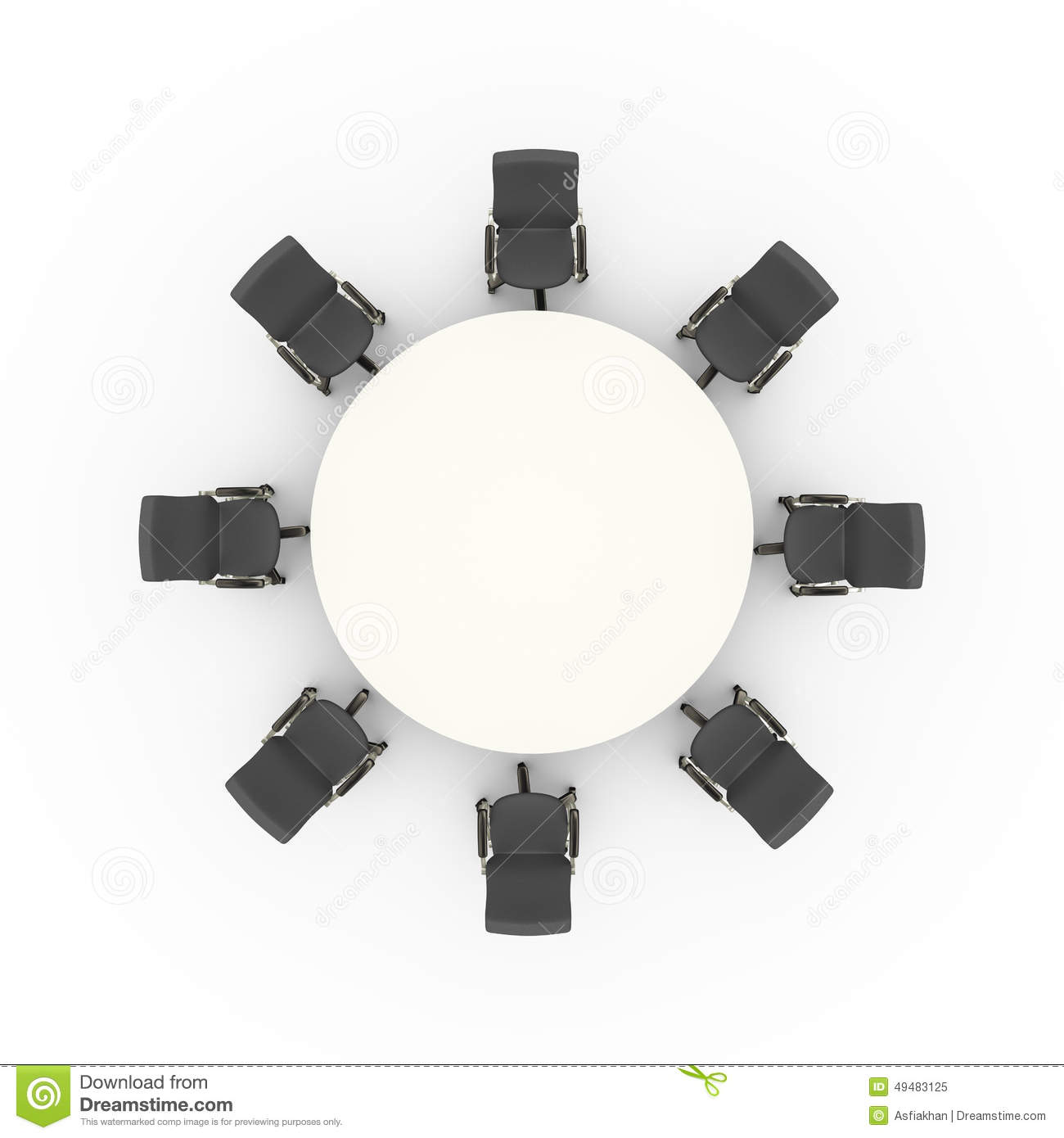Top view of office chairs and business conference meeting round table