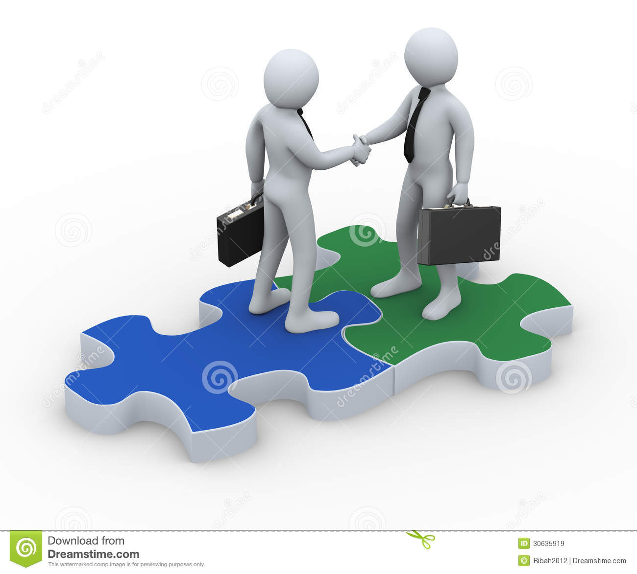 3d Business Partner On Puzzle Piece Royalty Free Stock