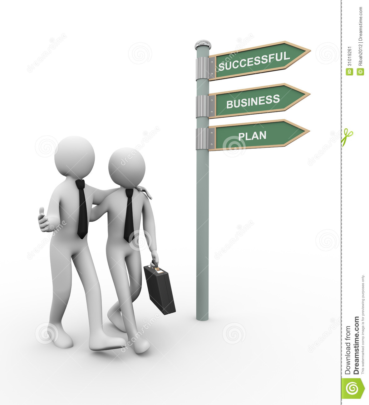 3d business partner successful plan stock illustration