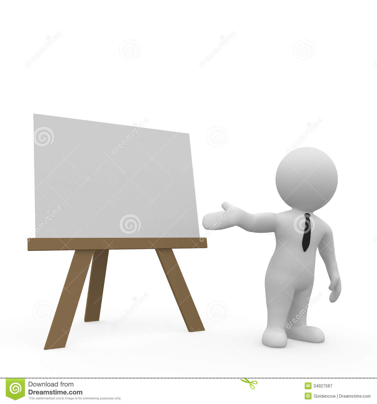 3d illustration of businessperson giving presentation with blank chart ...