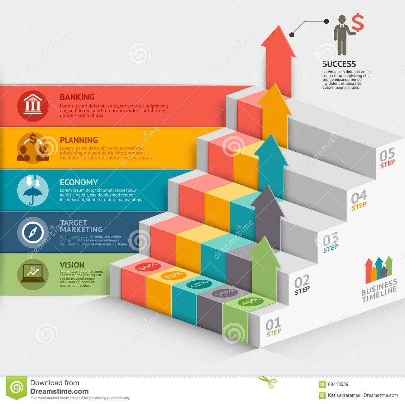 3d business staircase diagram template stock vector illustration