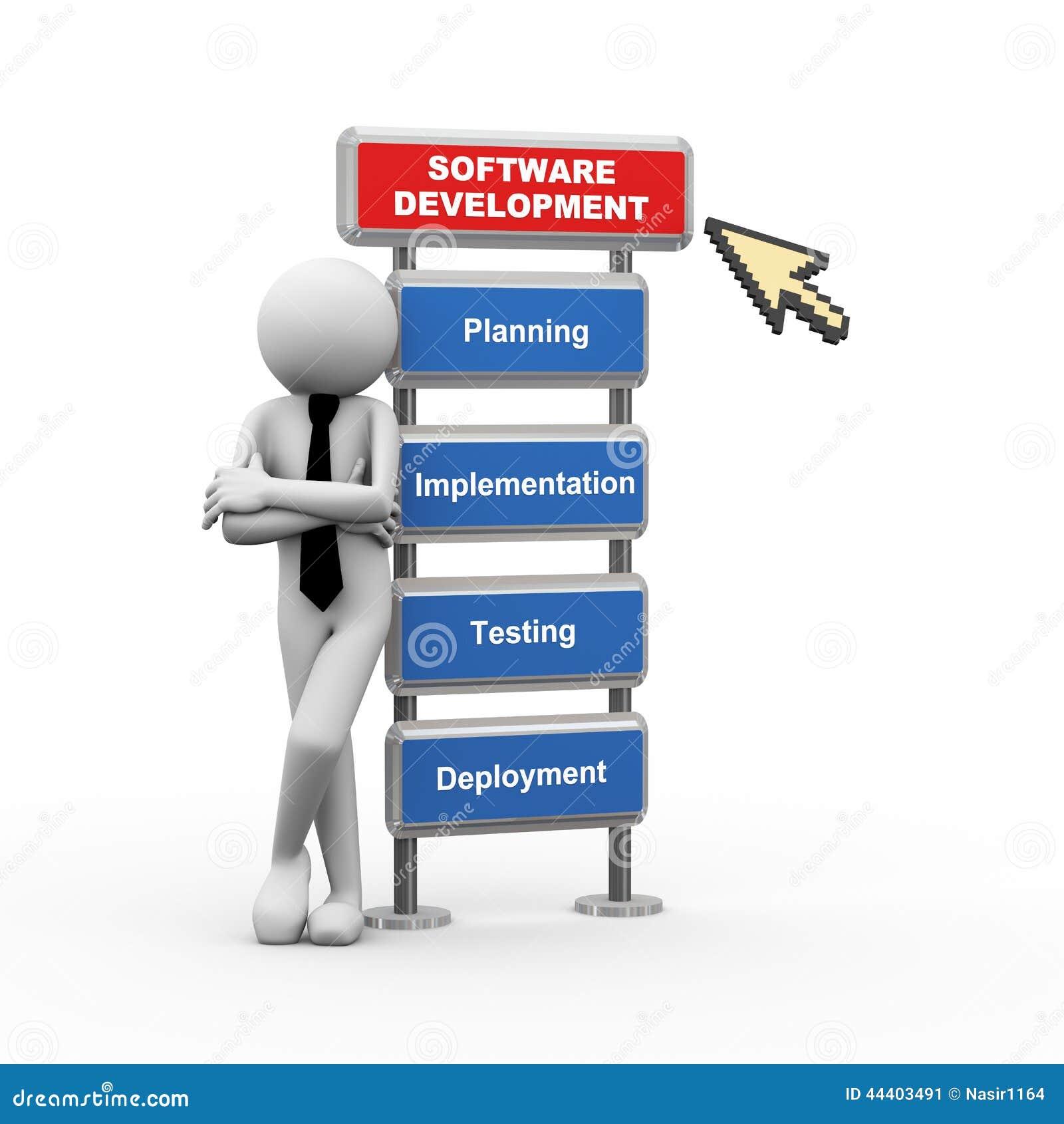Commercial Software Development : D businessman and concept of software development stock