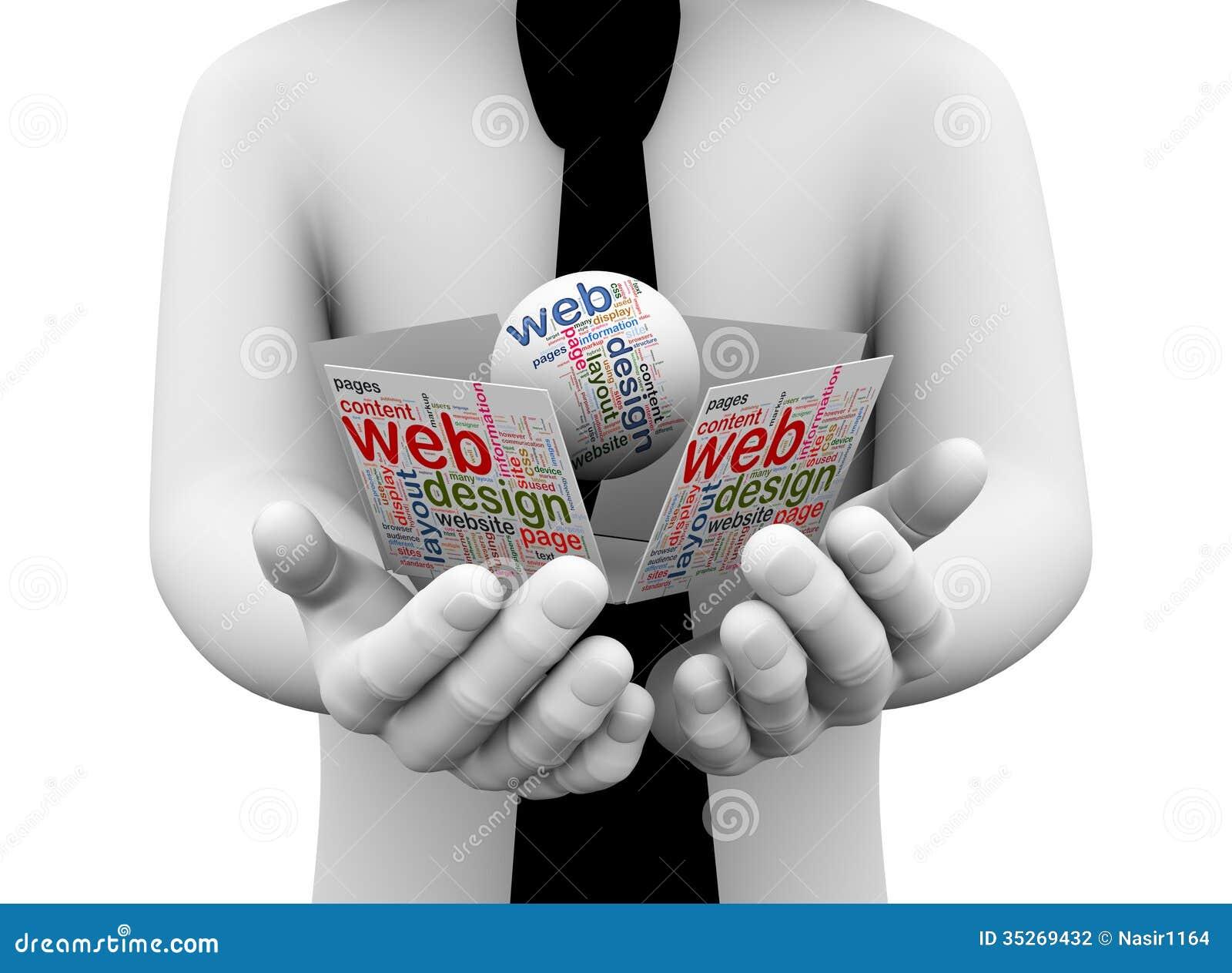 3d Businessman Holding Web Design Wordcloud Stock