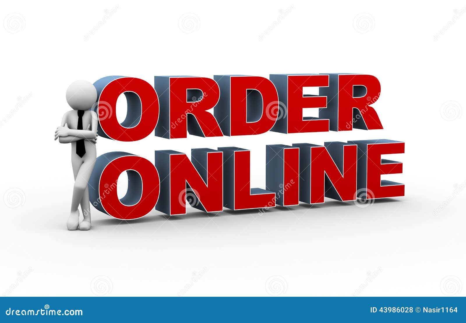 3d Businessman Online Order Stock Illustration Image