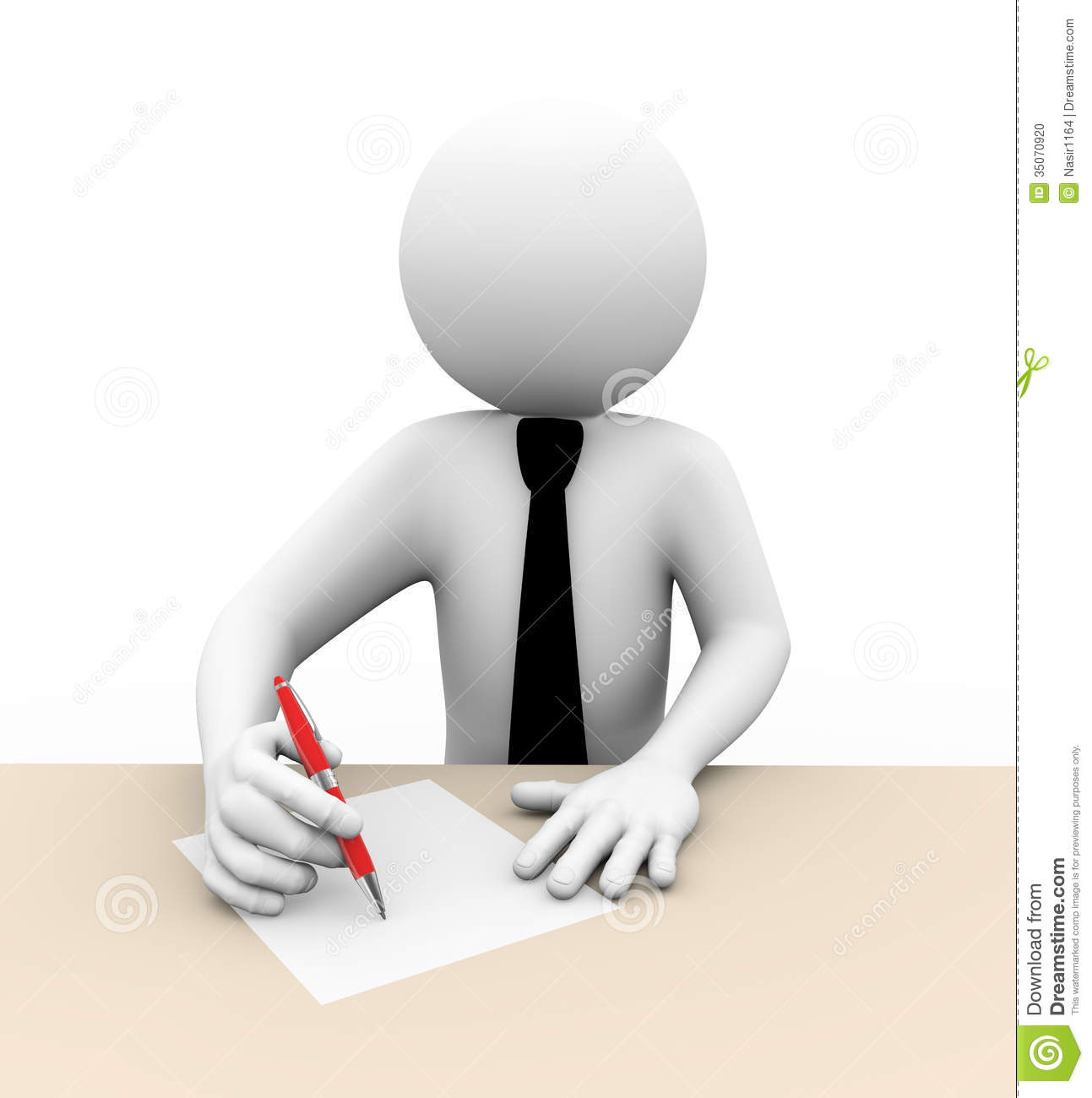 d businessman writing illustration stock illustration image  3d businessman writing illustration