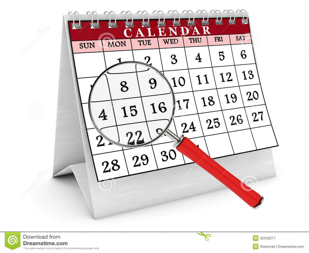 3d calendar and magnifying glass stock illustration