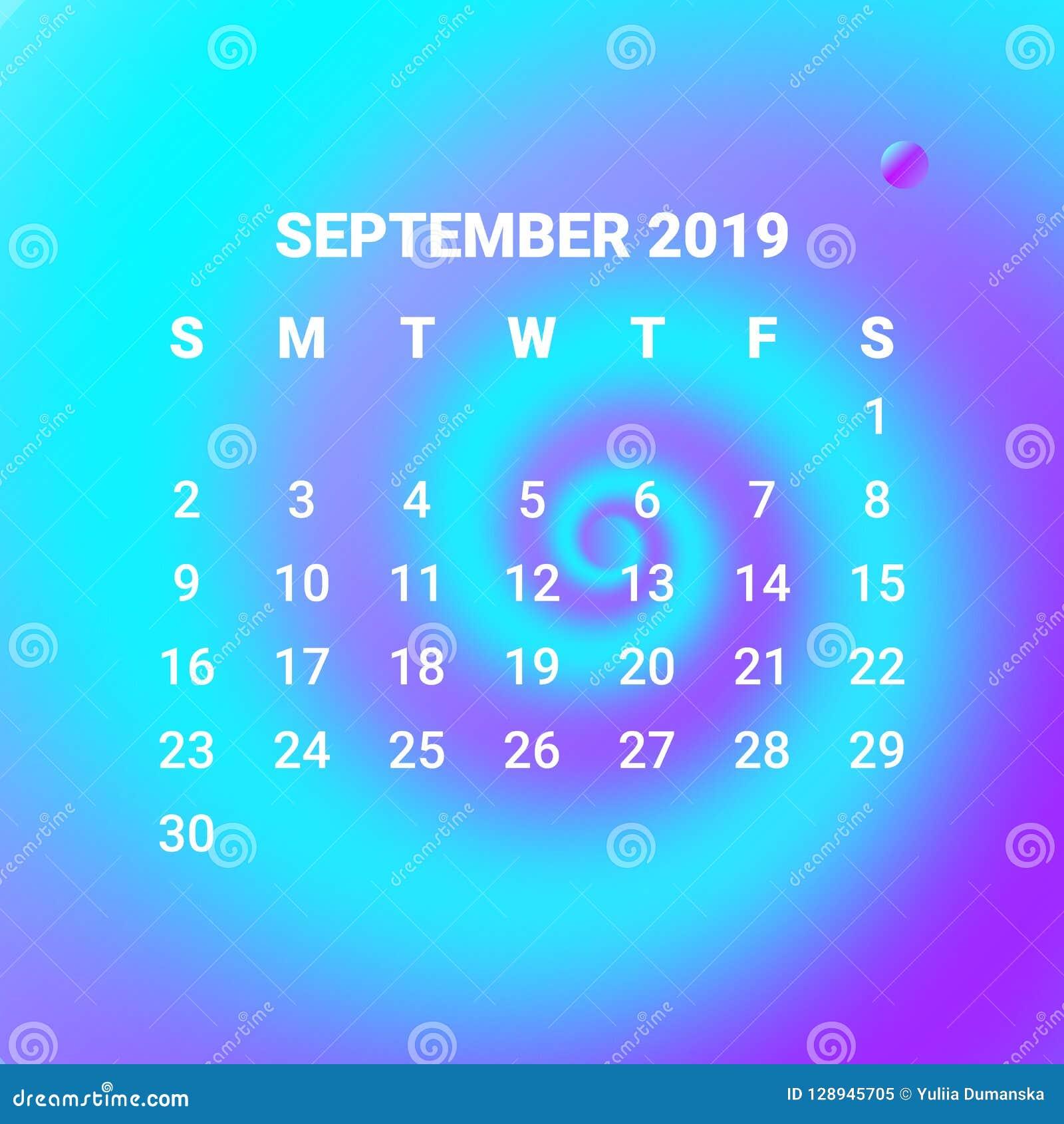 Calendrier Mois De Septembre.3d Calendrier Liquide Colore Liquide 2019 Conception De L