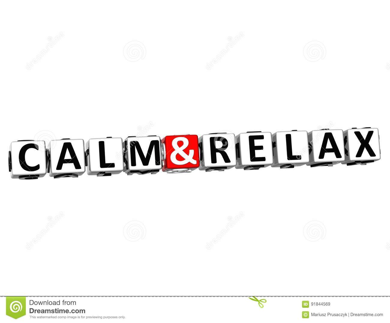 3D Calm and Relax Crossword Block text on white background