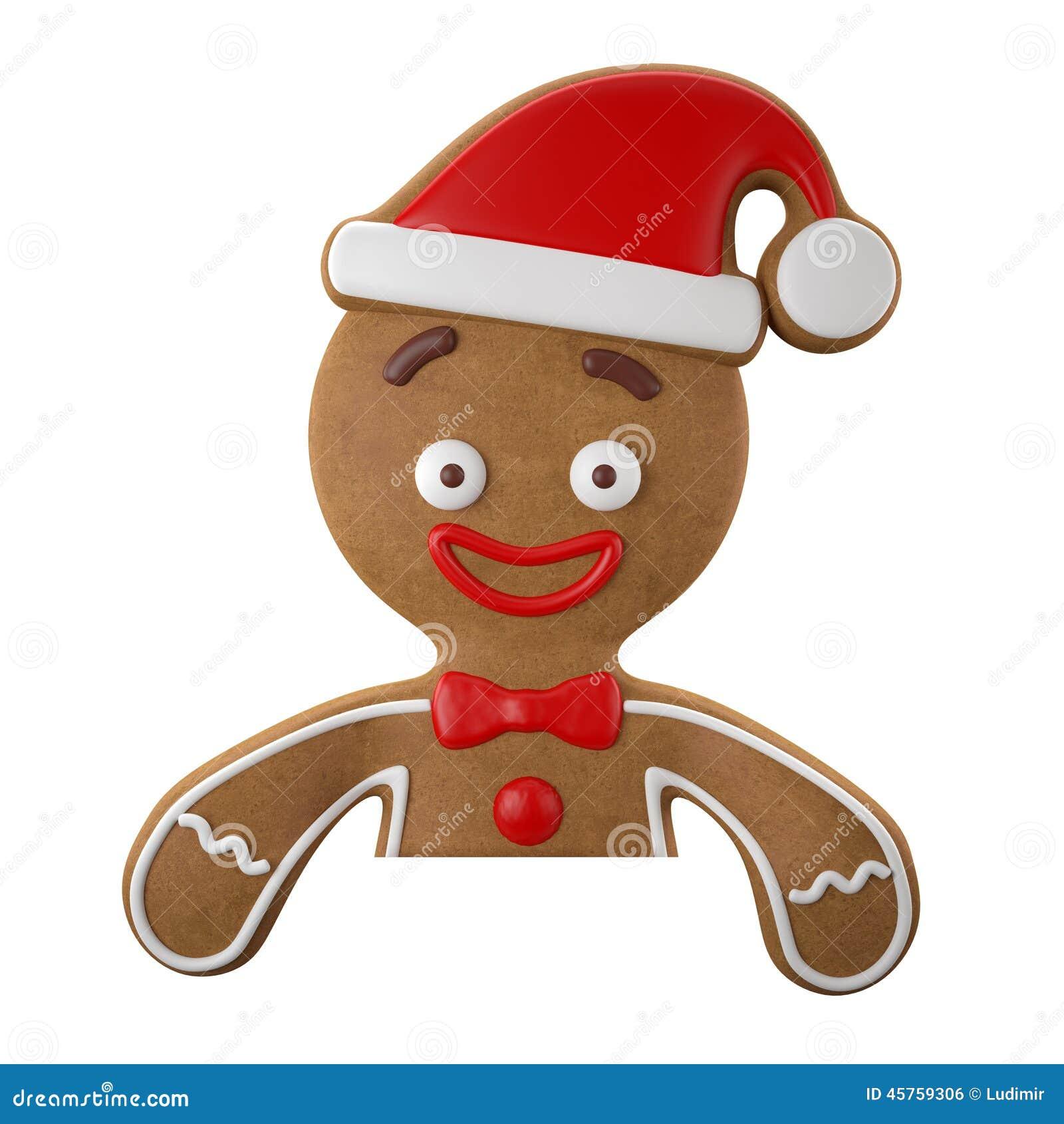 3d caráter, pão-de-espécie alegre, decoração engraçada do Natal,