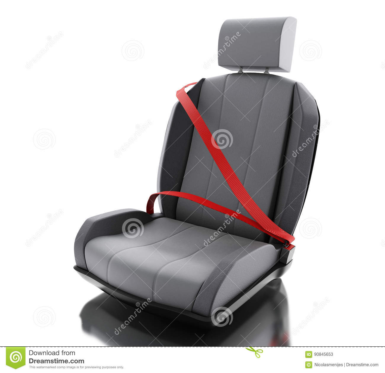3d car chair with auto seat belt stock illustration image 90845653. Black Bedroom Furniture Sets. Home Design Ideas