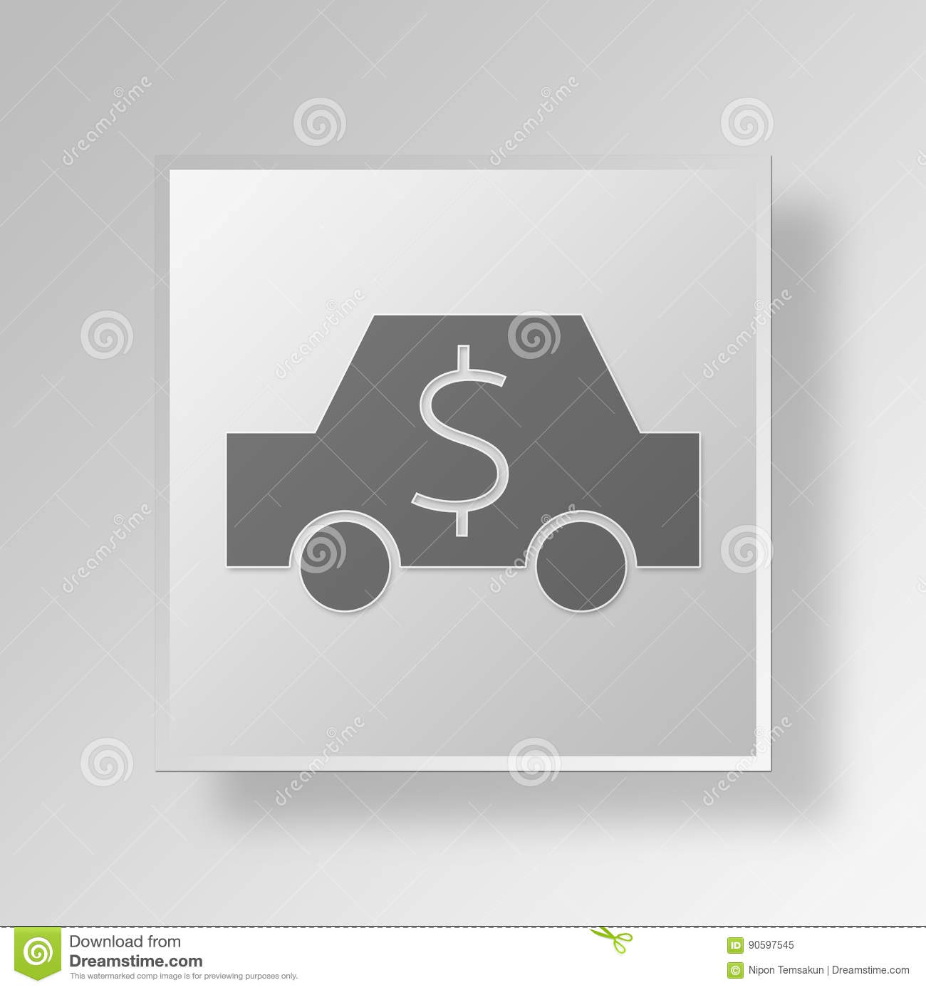 3D Car Cost icon Business Concept
