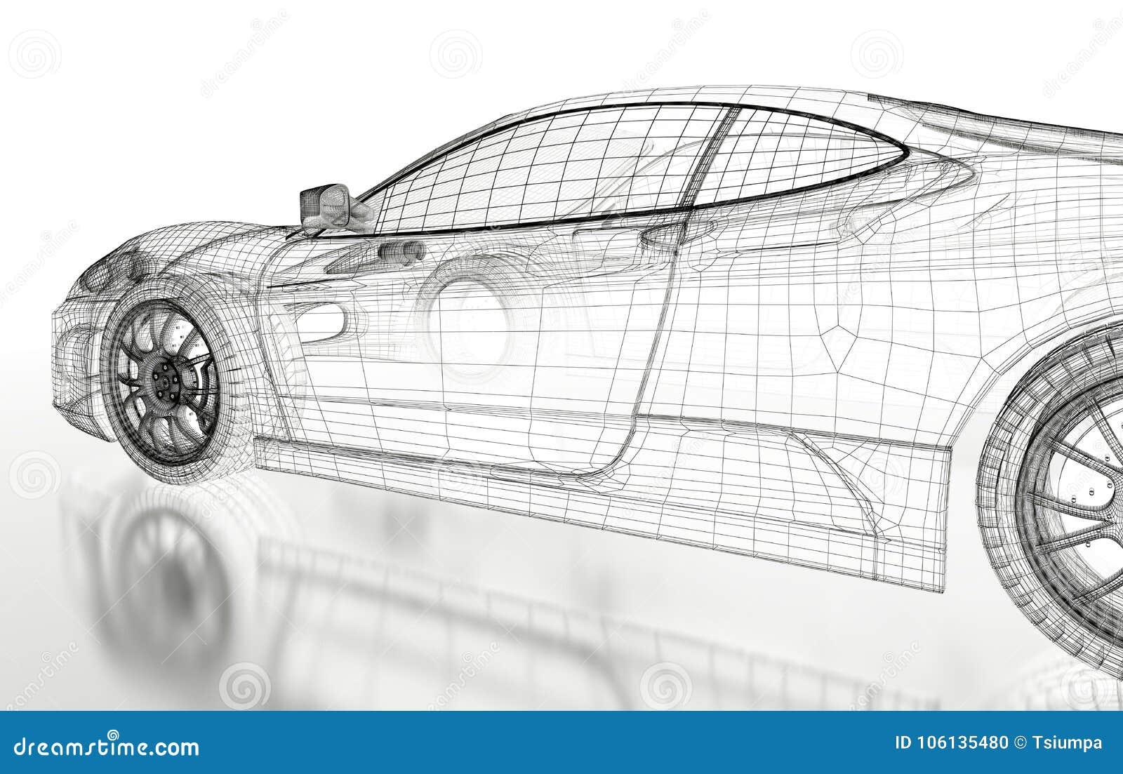3D car mesh on a white stock illustration. Illustration of rendering ...