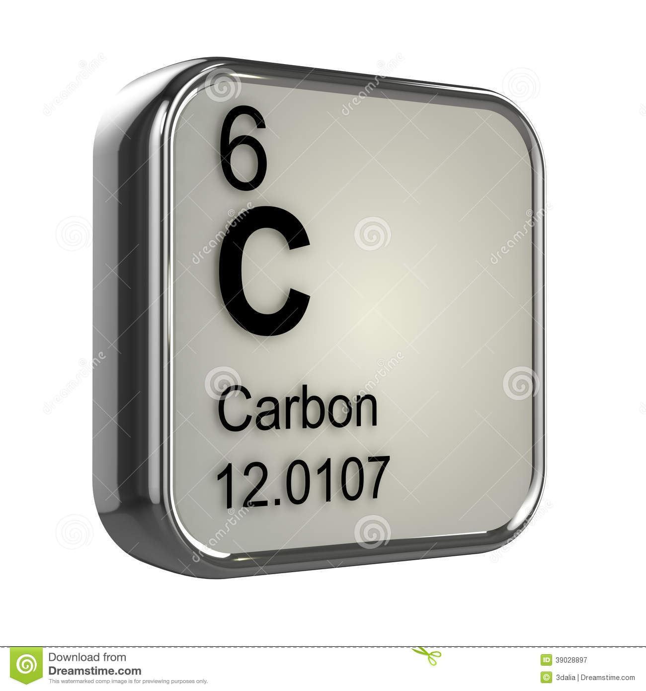 3d render of the carbon element from the periodic table.