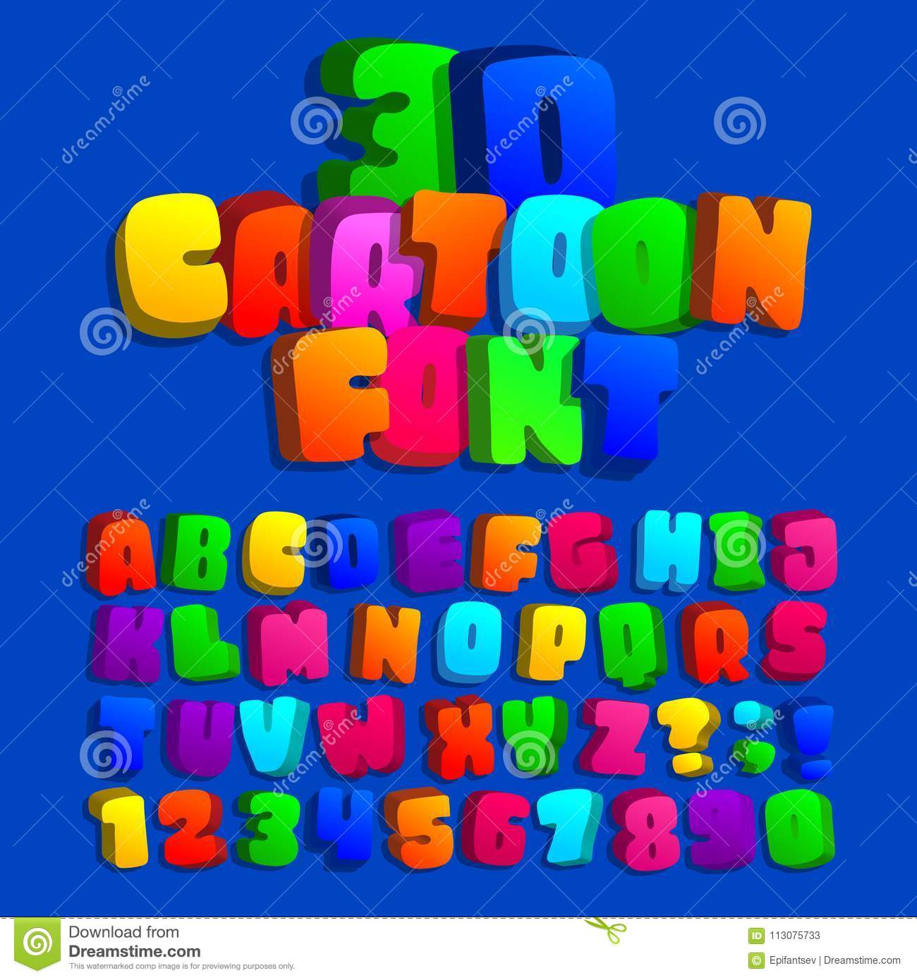 Download D Cartoon Alphabet Font Kids Funny Colorful Letters Numbers And Symbols Stock