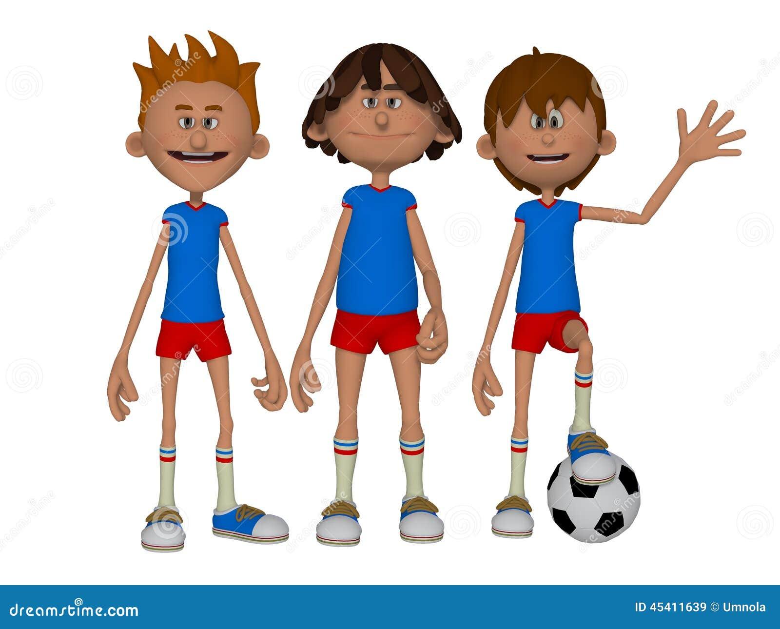 3d cartoon boys football team stock illustration image