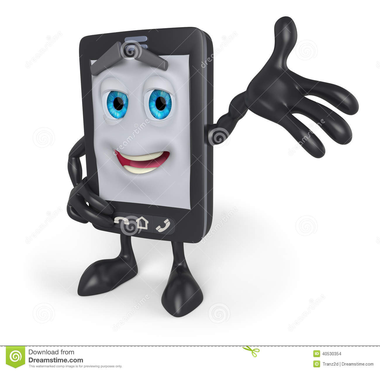 3d cartoon cell phone with arm raised stock illustration