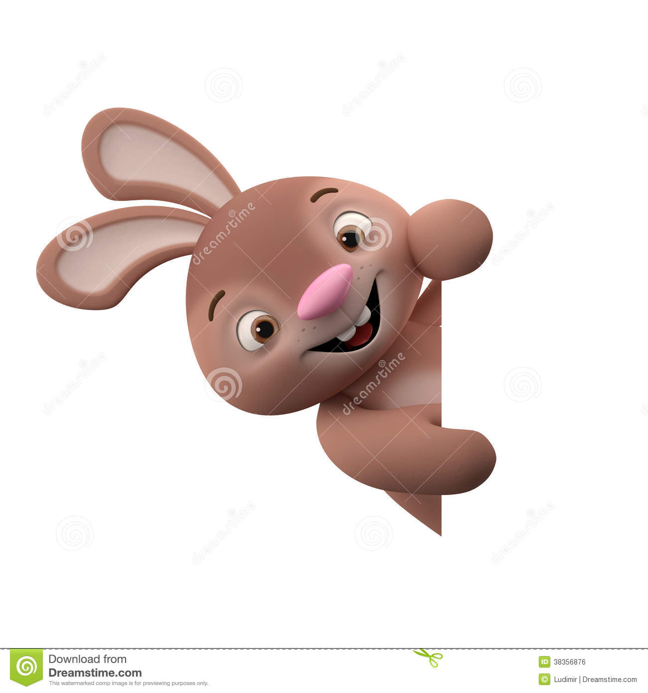 3D Cartoon Character, Easter Bunny Royalty Free Stock