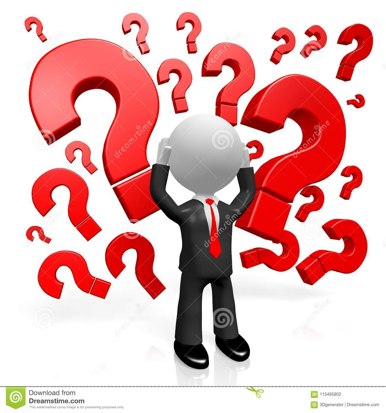 3d cartoon character question marks stock illustration