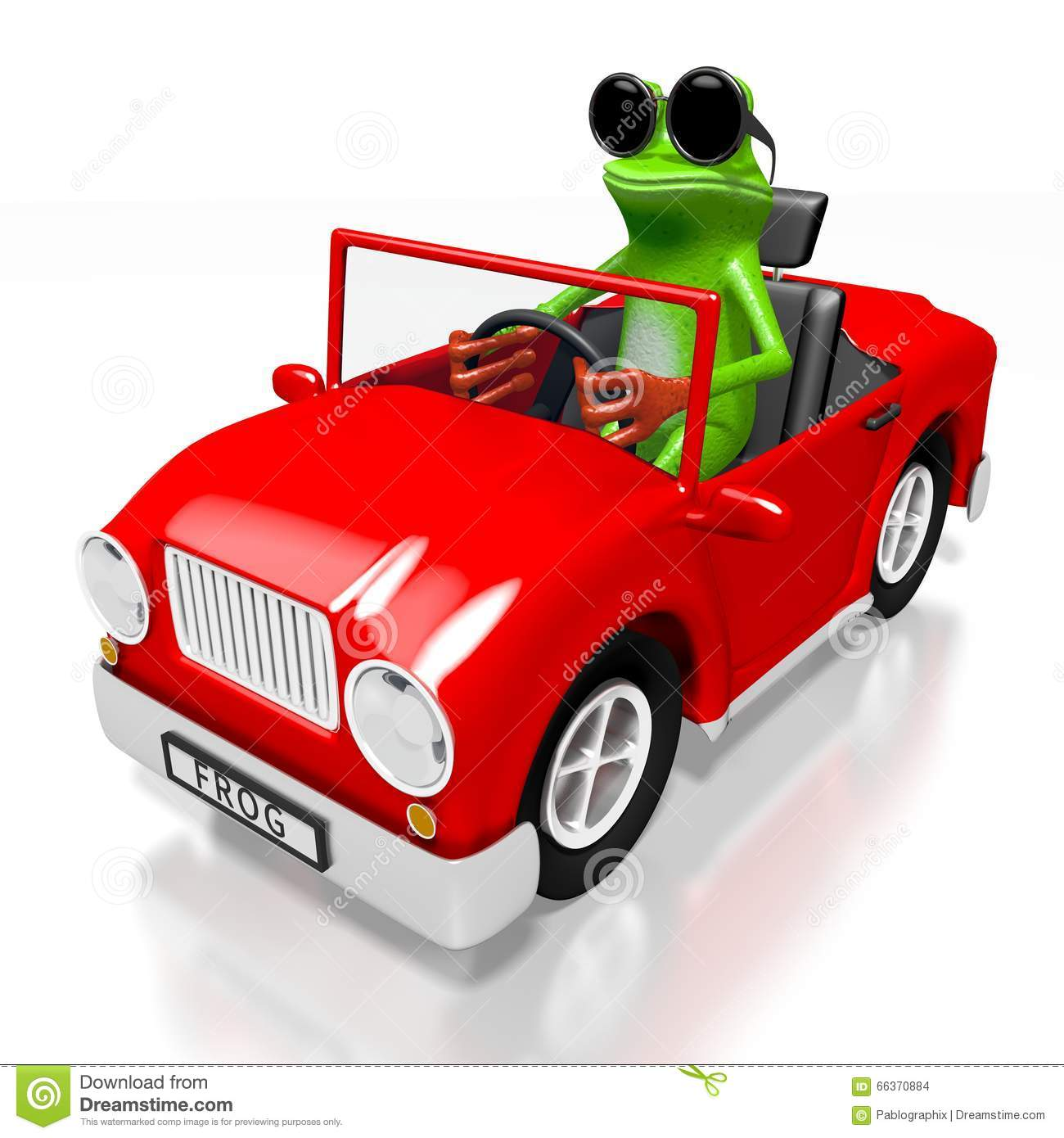3d Cartoon Frog And A Car Stock Illustration Illustration Of Driver