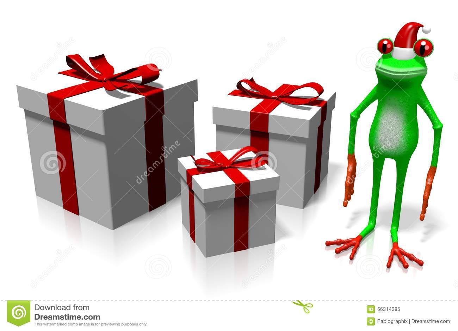 D cartoon frog christmas card stock illustration
