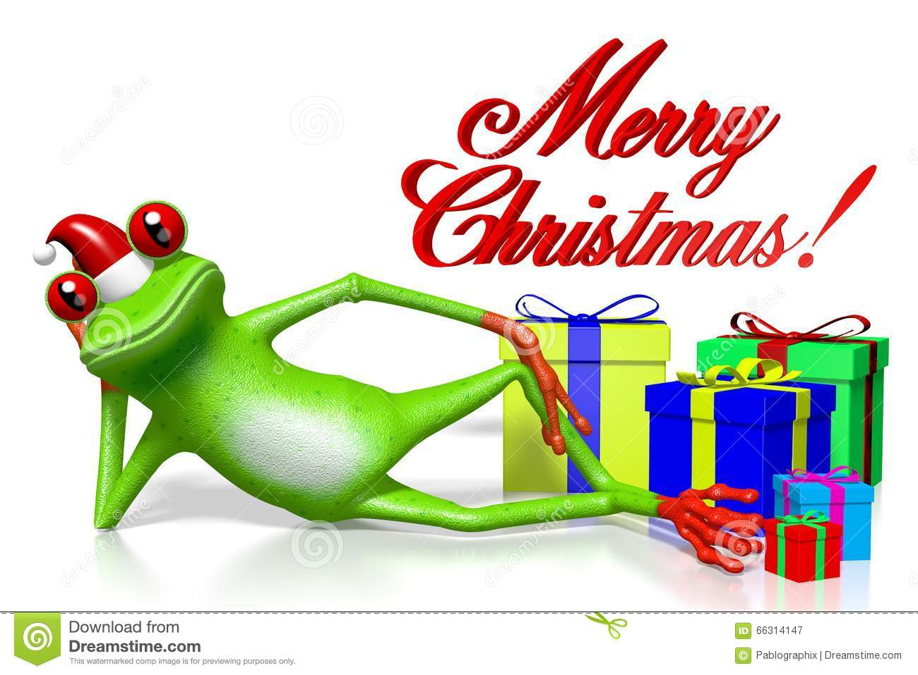3d Cartoon Frog Christmas Card Stock Illustration