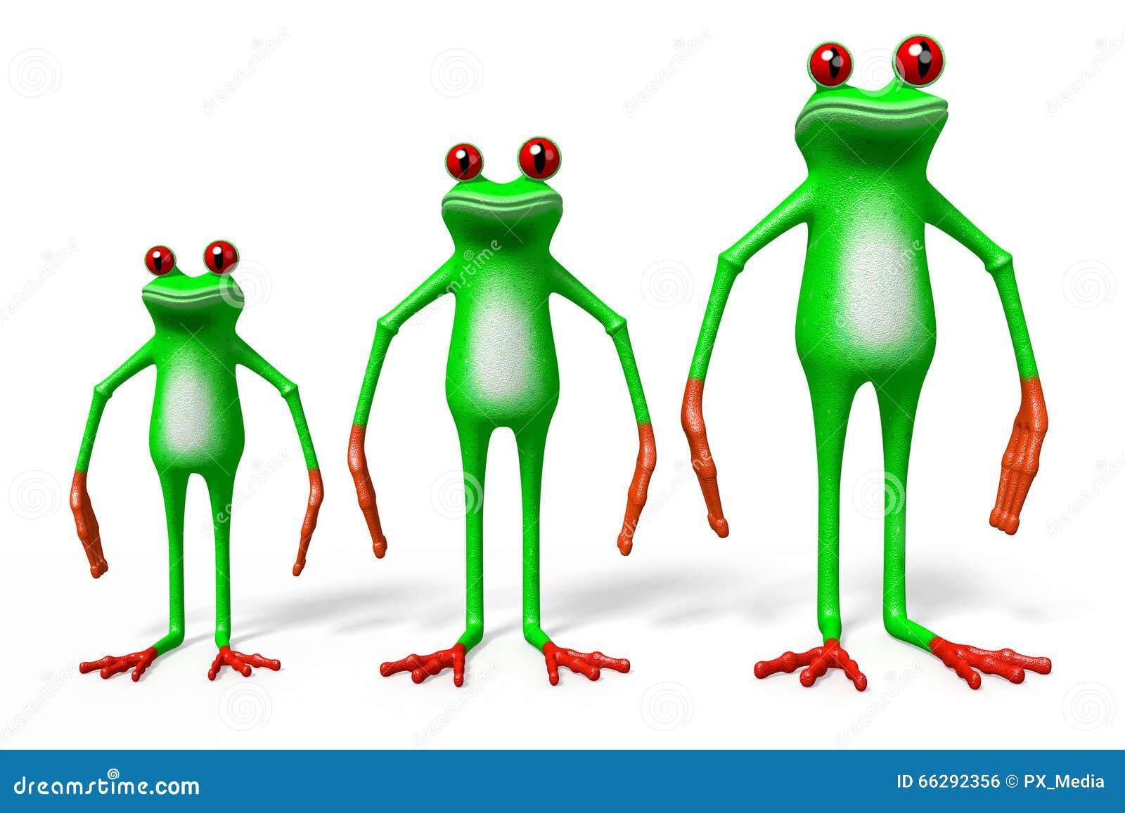 Download 3D Cartoon Frogs - Dimensions Concept Stock Illustration - Illustration of rainforest, nature: 66292356