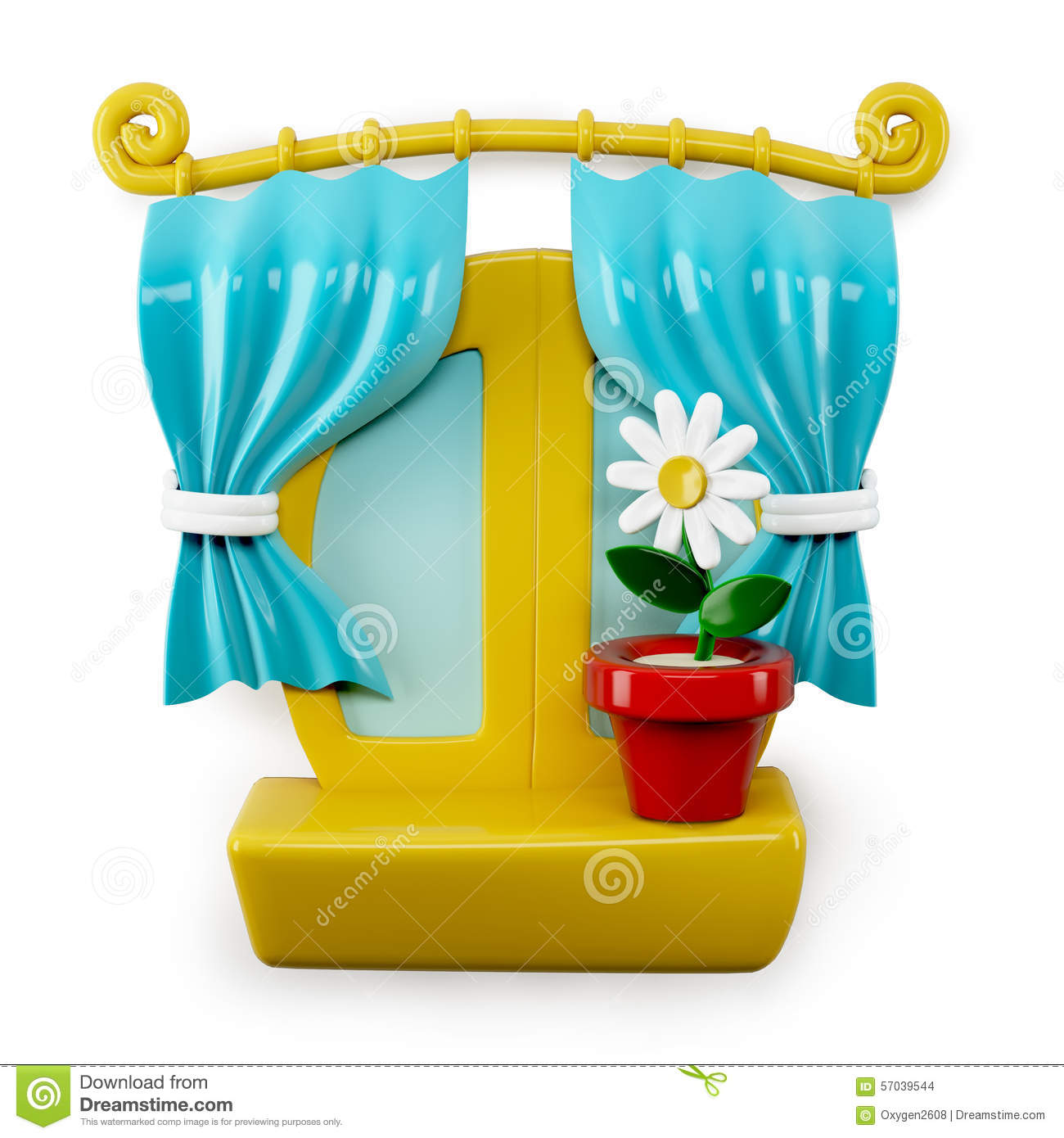 3d Cartoon Home Window On White Background Royalty-Free ...