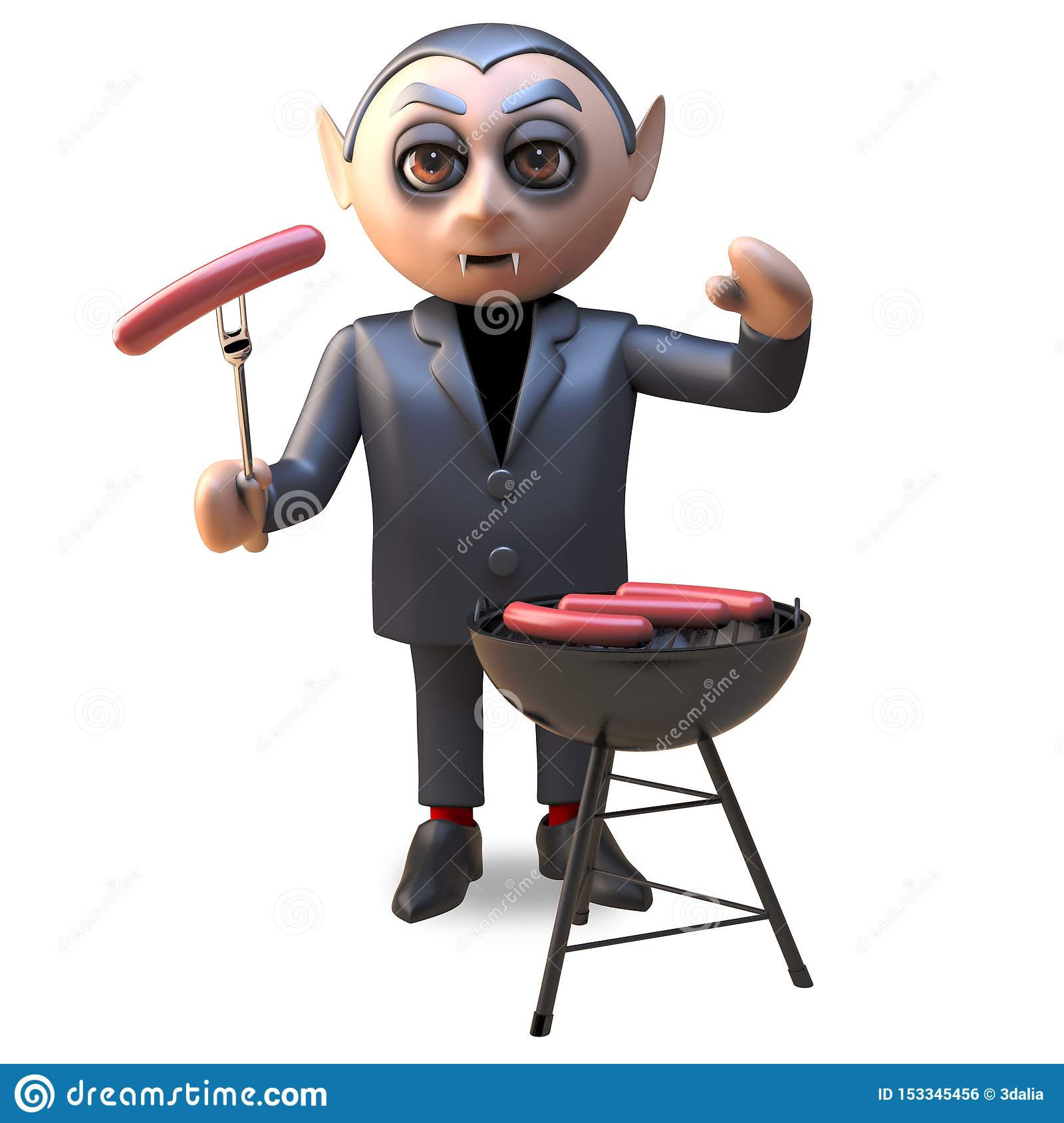 3d cartoon of a hungry Hallowee vampire dracula cooking on a barbecue bbq, 3d illustration