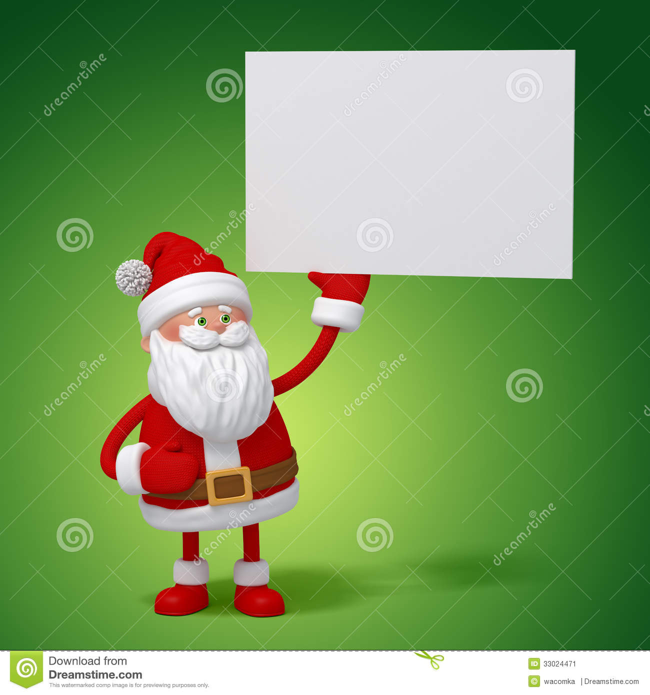 3d Cartoon Santa Claus Holding White Card Stock Illustration ...
