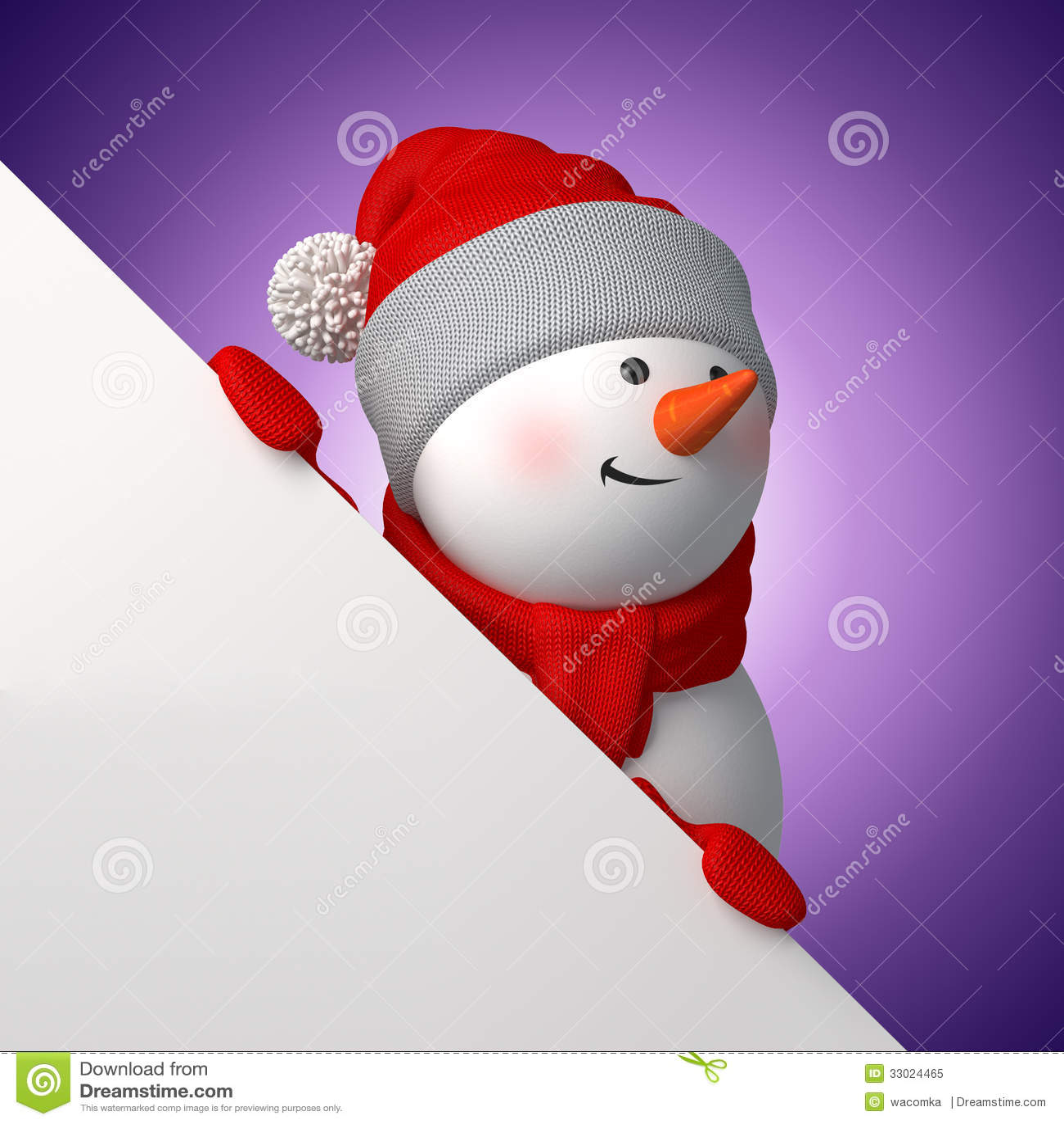 3d cartoon snowman holding white page corner stock