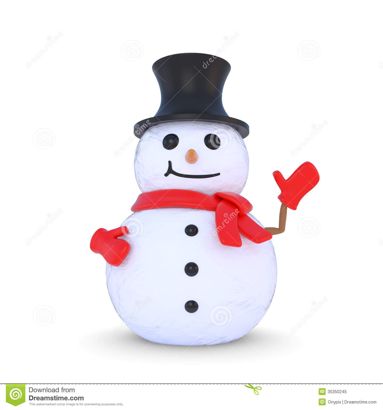 3d cartoon snowman waving royalty free stock photo image - Bonhomme de neige decoration exterieure ...