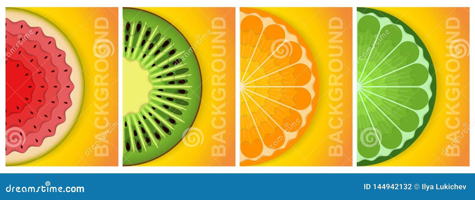 предпосылка 3D Бумажный лист Естественная еда Красочные абстрактные графические элементы концепции