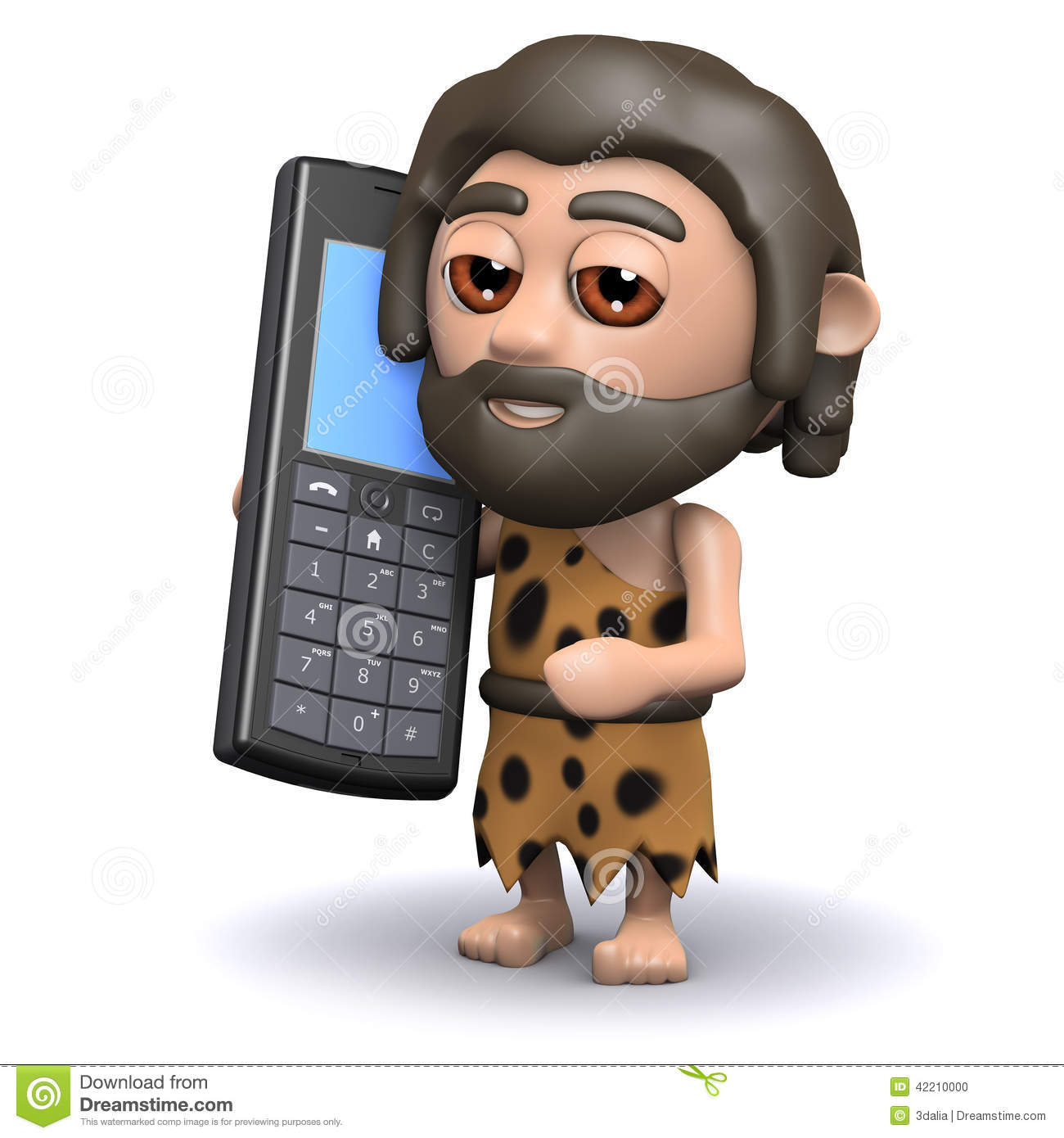 Caveman Phone : D caveman with a mobile phone stock illustration image
