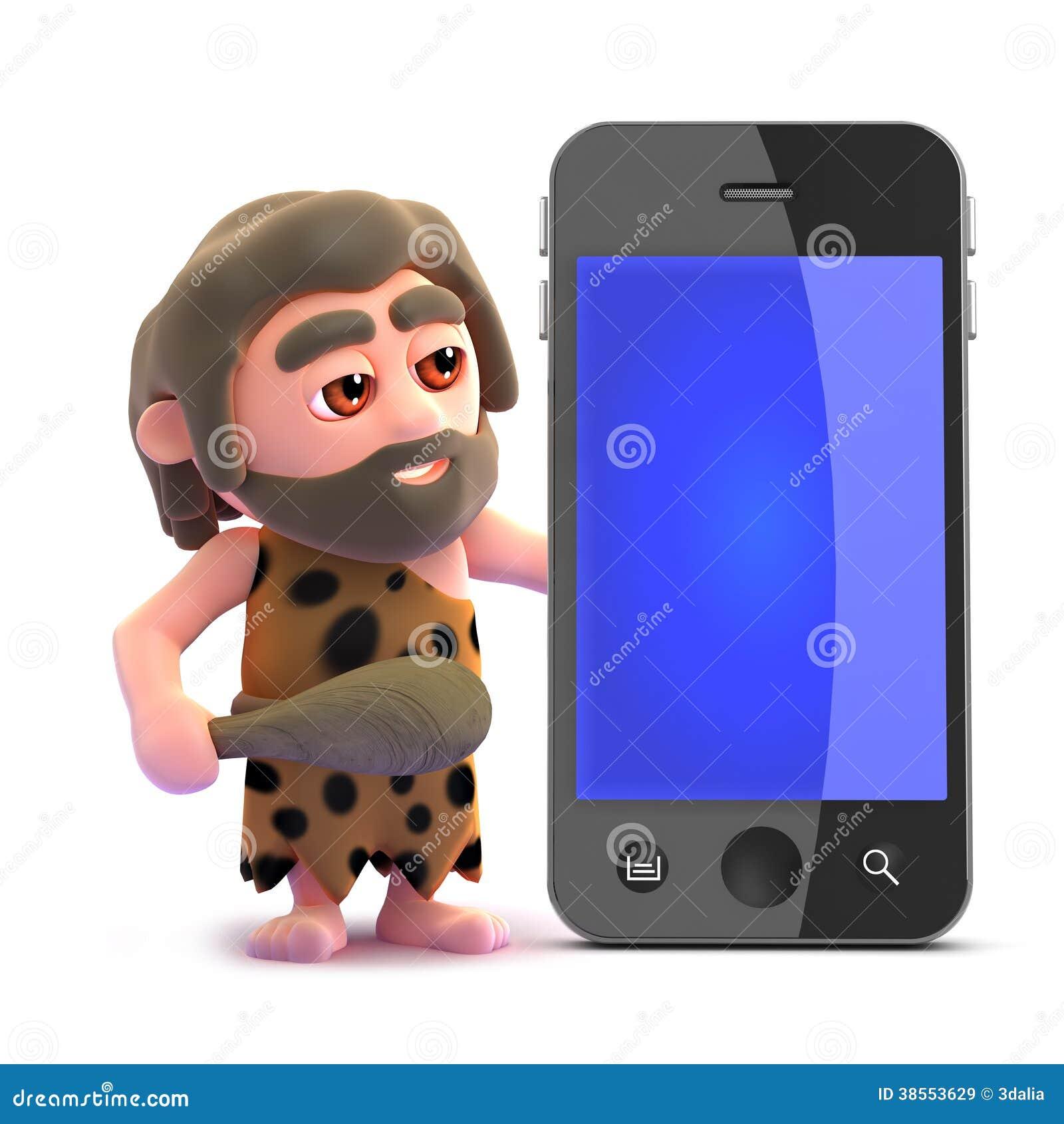 Caveman Phone : D caveman smart phone royalty free stock images image