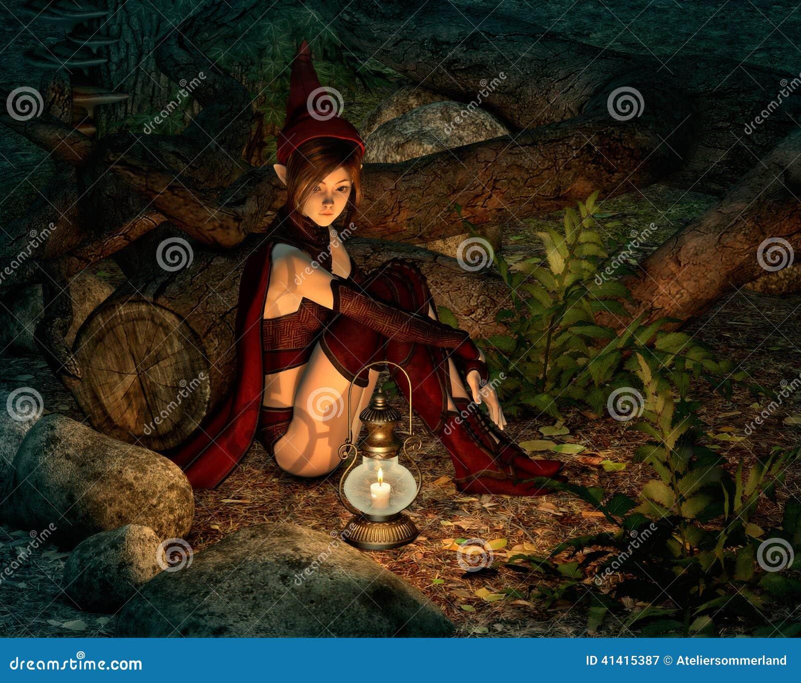 在晚上在神仙的森林里, 3d cg图片