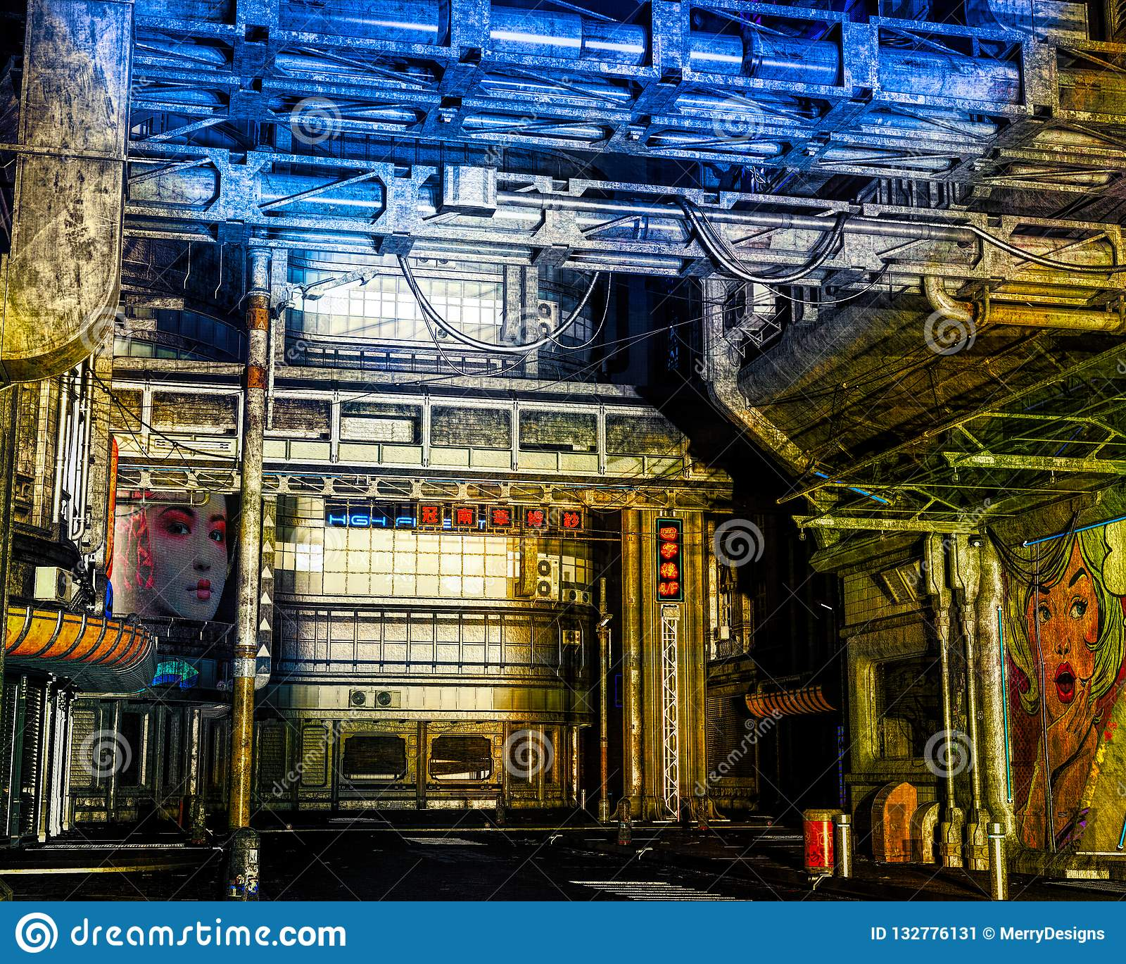3D CG Illustration Of A Cyberpunk City Street Stock