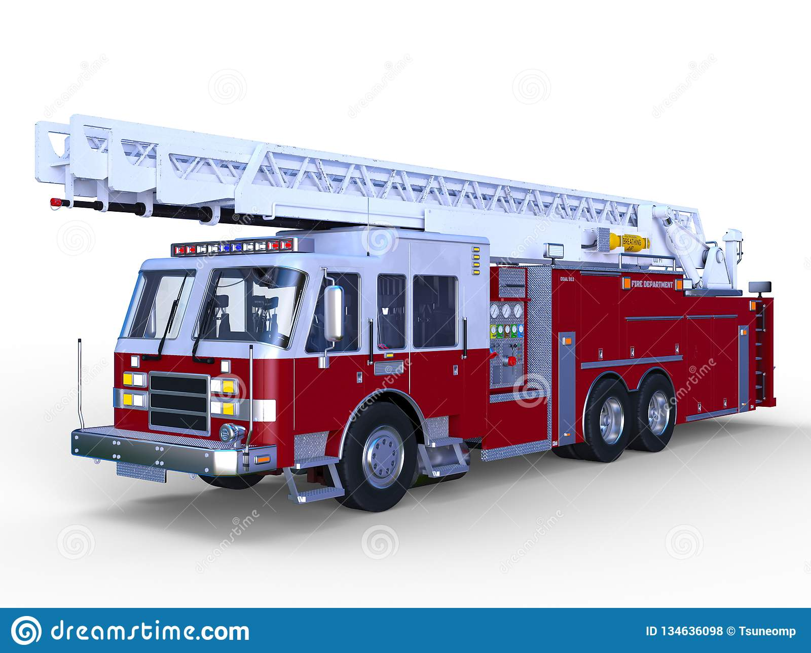 3D CG Rendering Of Fire Engine Stock Illustration