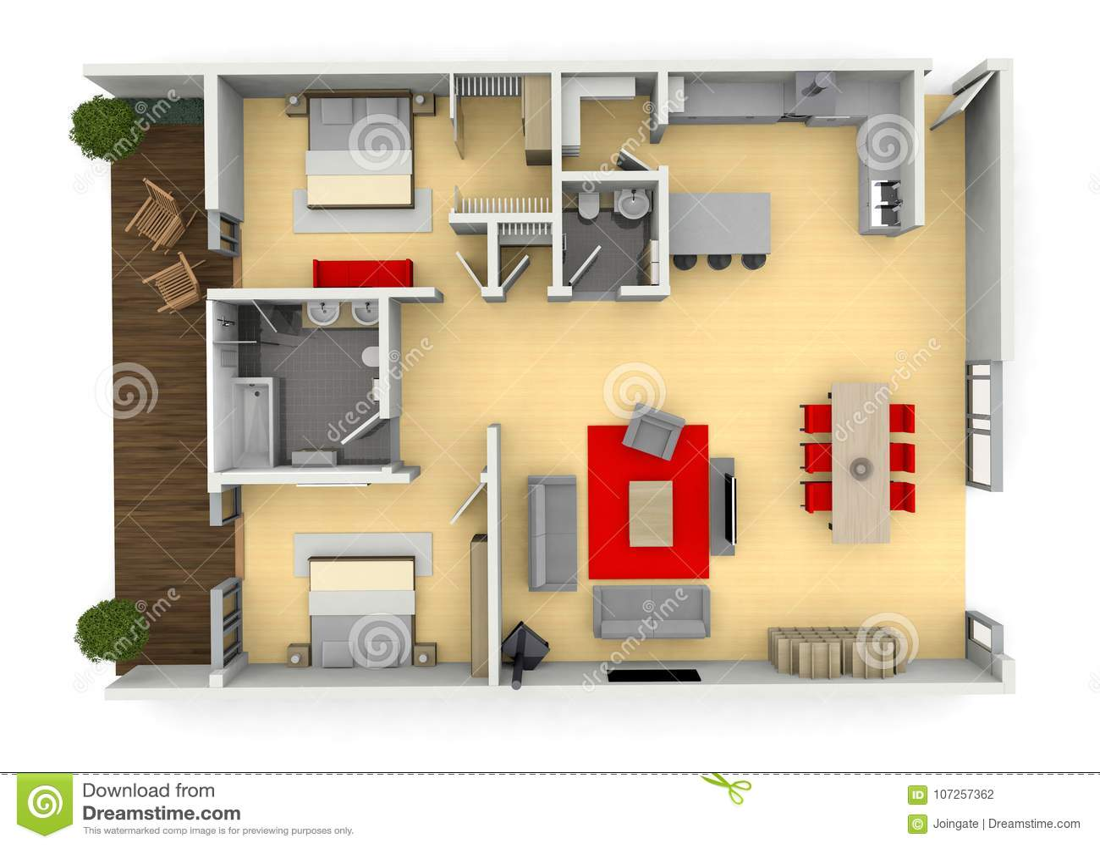 3d Cgi Birds Eye View Floorplan Of A Modern House Stock Illustration Illustration Of Colour Floorplan 107257362