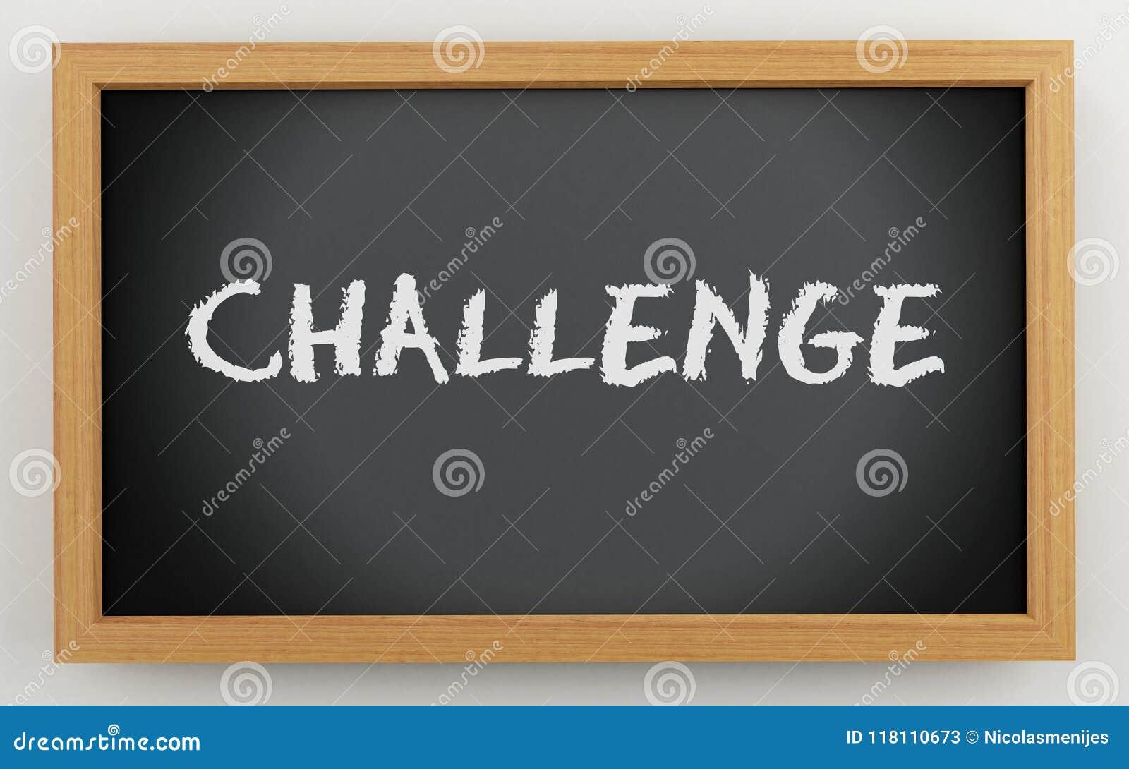 3d chalkboard z wyzwanie tekstem