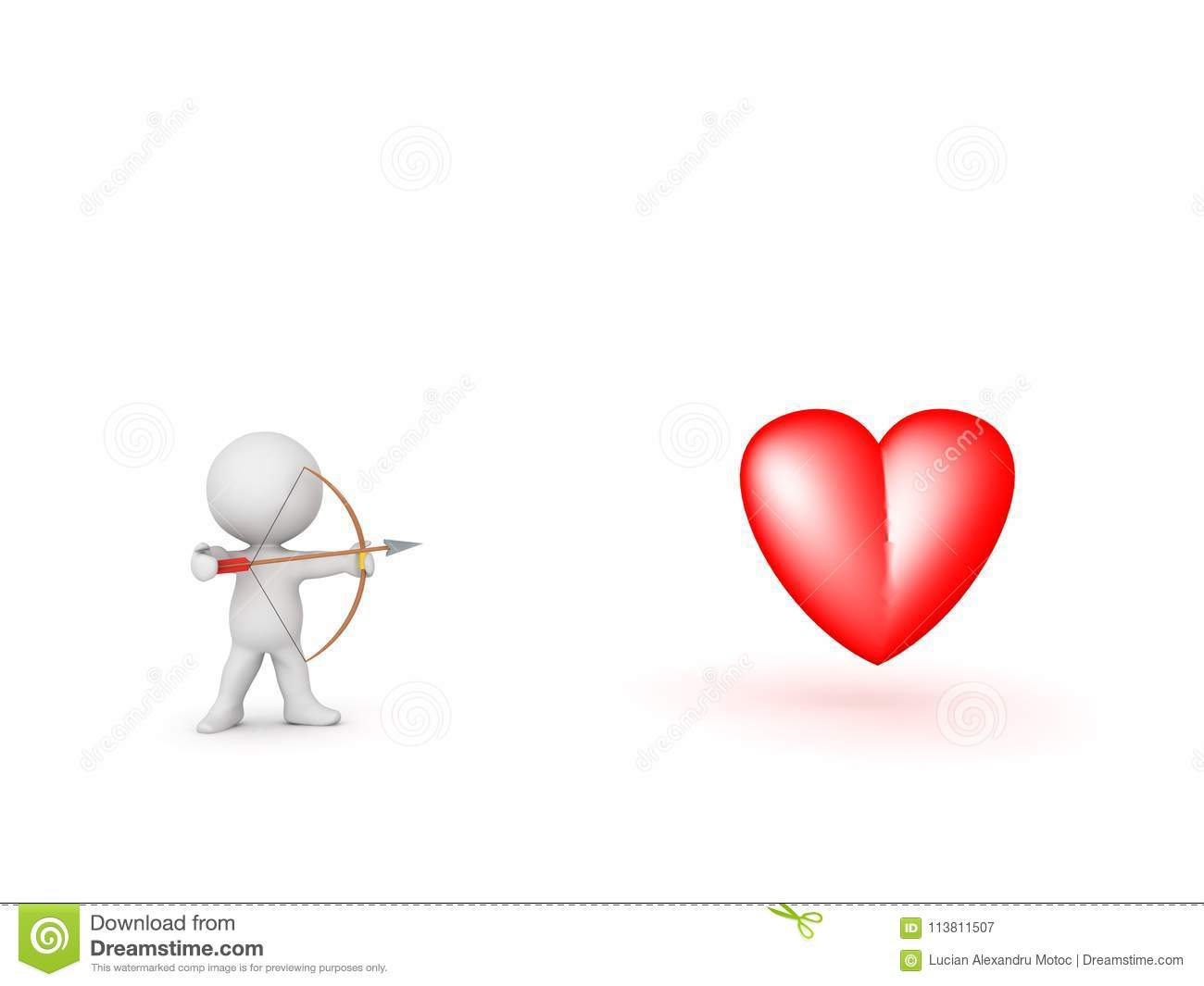 3d Character With Bow And Arrow Aiming At Heart Symbol Stock