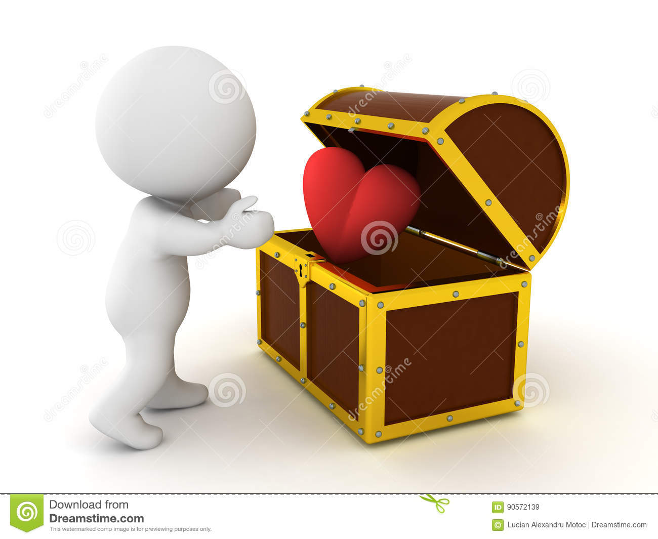 3D Character Finding Cartoon Heart In Treasure Chest Stock