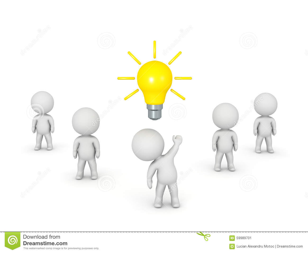 3d Character In A Group Has An Idea Stock Illustration