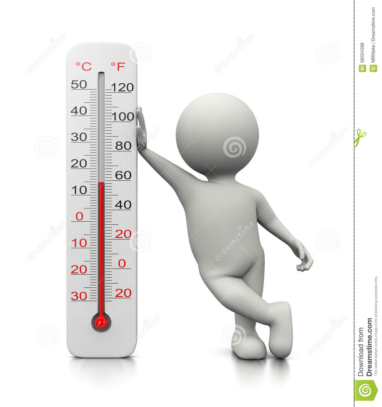 3d Character Leaned On A Thermometer Stock Illustration