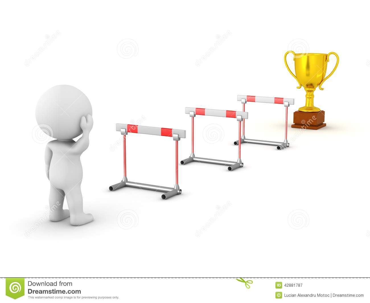 3d character looking at obstacles and trophy stock Hurdle Art clipart hurdle pictures