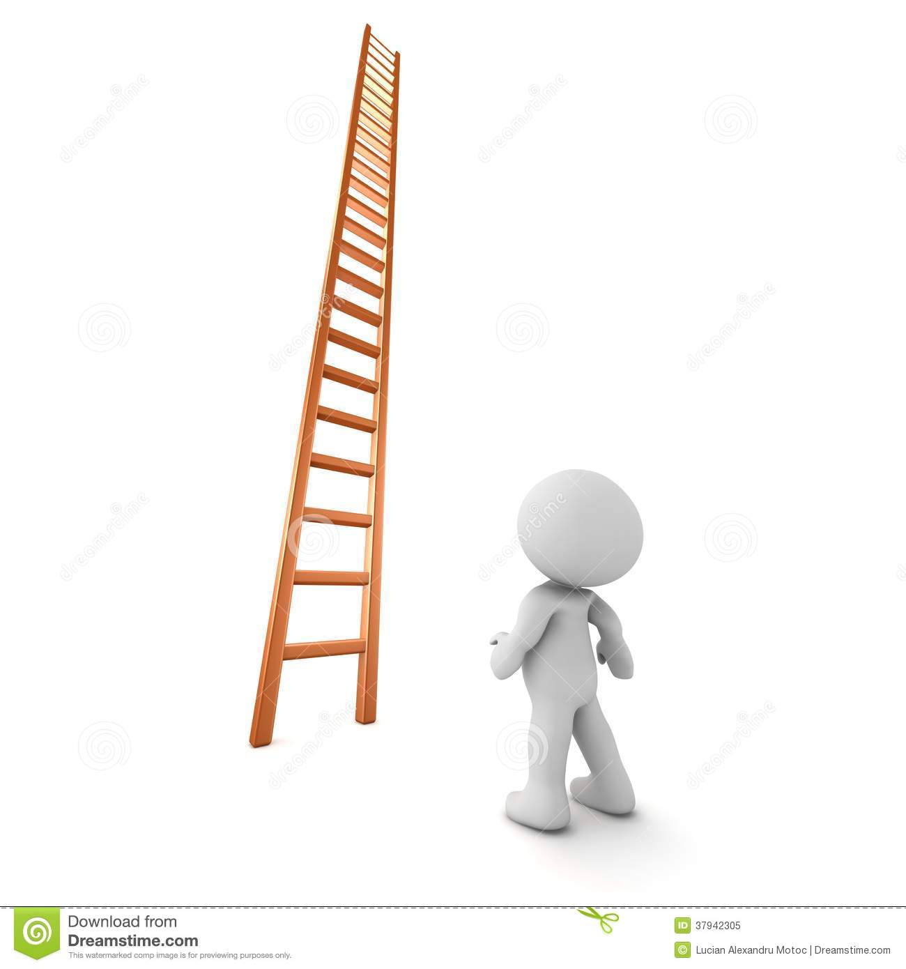 person looking up a ladder stock image image  3d character looking up at very tall ladder royalty stock photo