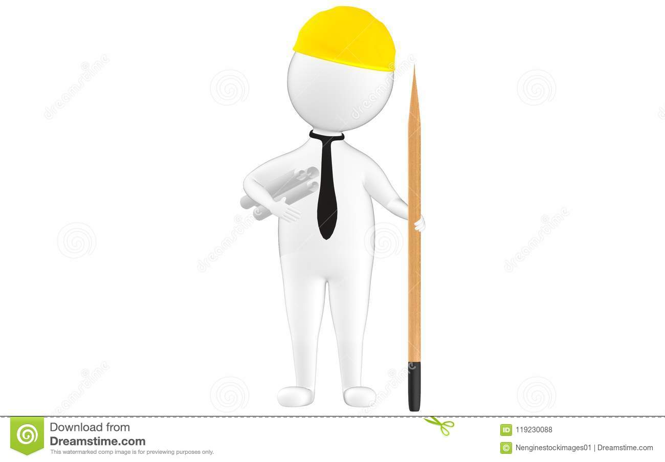 3d character , man civil worker wearing safety cap , paper roolls on his hand and a pencil
