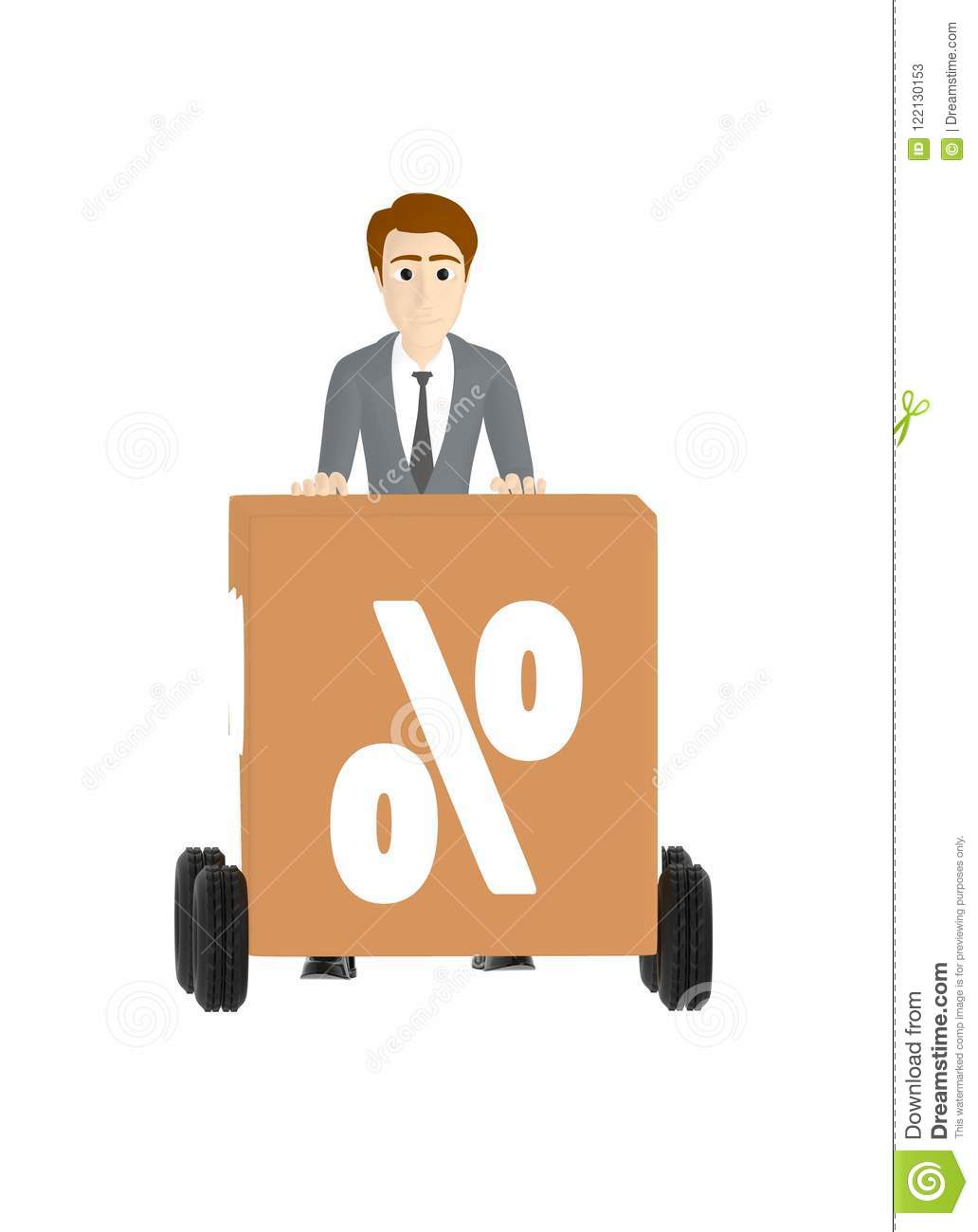 3d character , man moving trolley with cardboard box with percentage