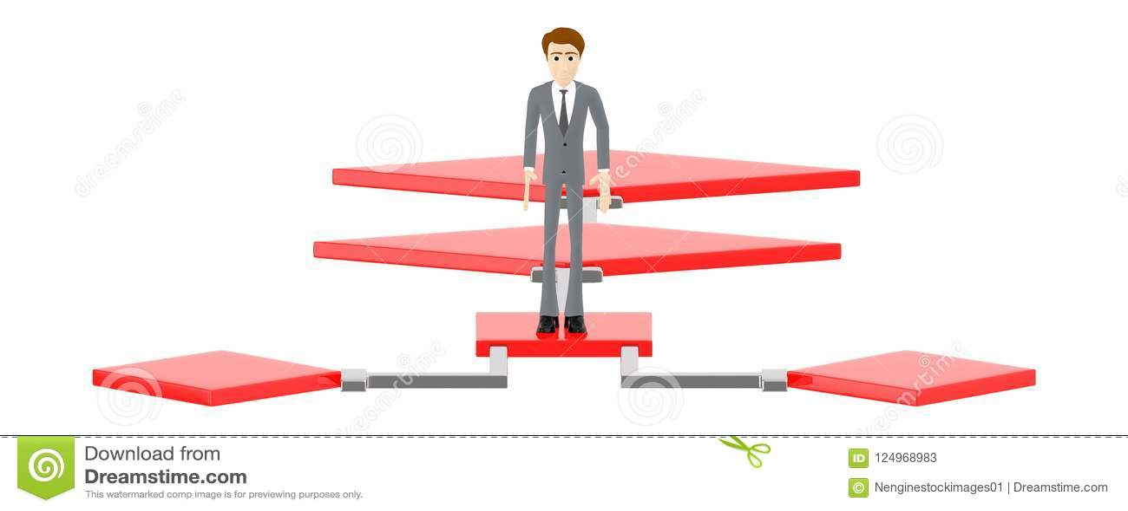 3d character , man standing over a flow chart
